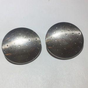 Vintage silver rhinestone silver clip on earrings
